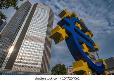 FRANKFURT/GERMANY - 25 AUGUST 2017:Low wide angle shot of Euro Sculpture in Frankfurt with the Frankfurt skyline behind