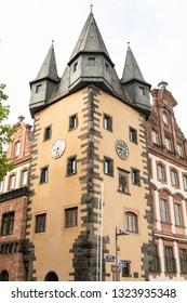 Frankfurt/Germany - 25.06.2018: Saalhof mit Renten (Zoll) turm in Frankfurt