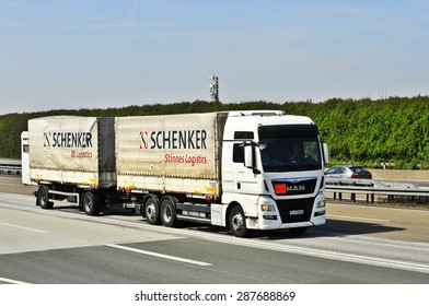 FRANKFURT,GERMANY - APRIL 10: truck on the highway on April 10,2015 in Frankfurt, Germany.