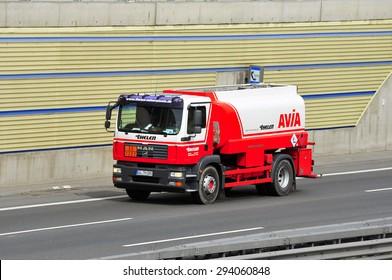 FRANKFURT,GERMANY - APRIL 16: oil truck on of AVIA the highway on April 16,2015 in Frankfurt, Germany.