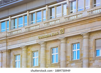 FRANKFURT,GERMANY- APRIL 29,2017:Deutsche Bank AG is a German global banking and financial services company with its headquarters in Frankfurt.