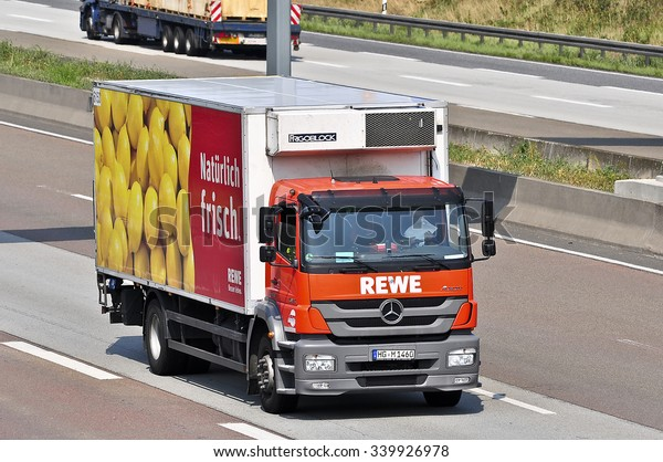 FRANKFURT,GERMANY - AUG 10: truck of REWE on the highway on August 10,2015 in Frankfurt, Germany.