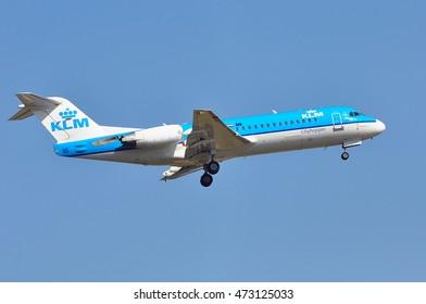 FRANKFURT,GERMANY - AUG 18: airplane of KLM above the Frankfurt airport on August 18,2016 in Frankfurt, Germany.