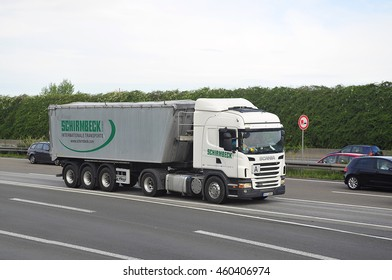 FRANKFURT,GERMANY - JULY 28: SCANIA truck on the highway on July 28,2016 in Frankfurt, Germany.