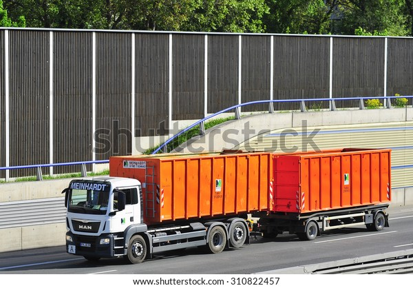 FRANKFURT,GERMANY - MAY 08: MAN Meinhardt truck on the highway on May 08,2015 in Frankfurt, Germany.