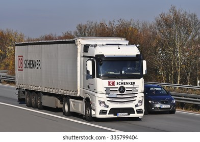FRANKFURT,GERMANY - NOV 05: truck  on the highway on November 05, 2015 in Frankfurt , Germany.