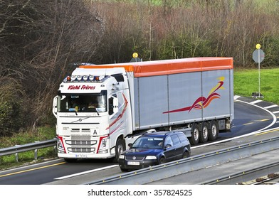 FRANKFURT,GERMANY - SDEC 224: truck on the highway on December 22,2015 in Frankfurt, Germany.