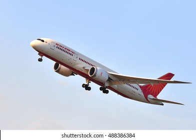 FRANKFURT,GERMANY - SEPT 08: Air India Boeing 787 in the blue skay on September 08,2016 in Frankfurt, Germany.Air India - flag carrier airline of India and the third largest airline in India.