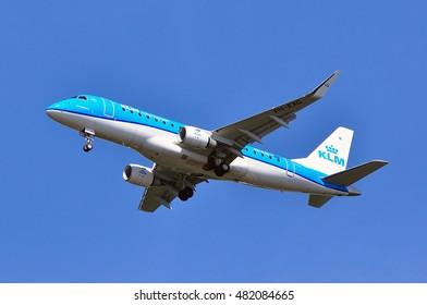 FRANKFURT,GERMANY - SEPT 08: KLM aircraft in the blue skay on September 08,2016 in Frankfurt, Germany.