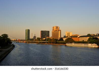 FRANKFURT,GERMANY- SEPT 11:panoramic views of Frankfurt am Main on September 11,2015 in Frankfurt, Germany.