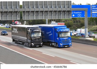 FRANKFURT,GERMANY - SEPT 24: MERCEDES BENZ trucks on the highway on September 24,2015 in Frankfurt, Germany.