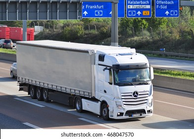FRANKFURT,GERMANY - SEPT 24:MERCEDES BENZ  truck on the highway on September 24,2015 in Frankfurt, Germany.