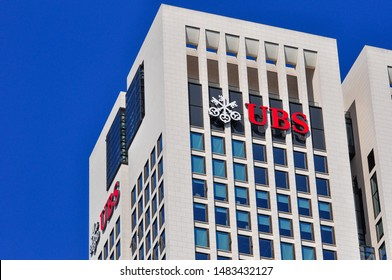 Frankfurt,Germany- September 11,2015:  view on the UBS in city.UBS Group AG is a Swiss multinational investment bank and financial services company founded and based in Switzerland.