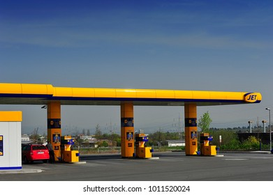 FRANKFURT,GERMANY-APR 16,2015:JET gas station.Jet is the filling station brand of Phillips 66 used in Europe.