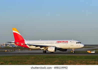 FRANKFURT,GERMANY-APR 21:Airbus A320 of IBERIA Airlines in the Frankfurt airport on April 21,2016 in Frankfurt,Germany.IBERIA AIRLINES is the flag carrier and largest airline of Spain.