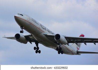 FRANKFURT,GERMANY-APR 29: ETIHAD AIRWAYS Airbus A330 lands at airport on April 29,2017 in Frankfurt,Germany.Etihad Airways is a flag carrier and the second-largest airline of the UAE.