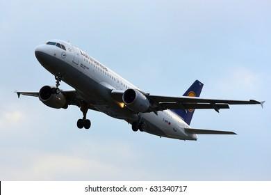 FRANKFURT,GERMANY-APR 29:  LUFTHANSA airplane lands at Frankfurt airport on April 29,2017 in Frankfurt,Germany.