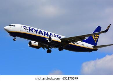 FRANKFURT,GERMANY-APR 29:  Ryanair Boeing 737 lands at airport on April 29,2017 in Frankfurt,Germany.Ryanair Ltd. is an Irish low-cost airline headquartered in Swords, a suburb of Dublin, Ireland.