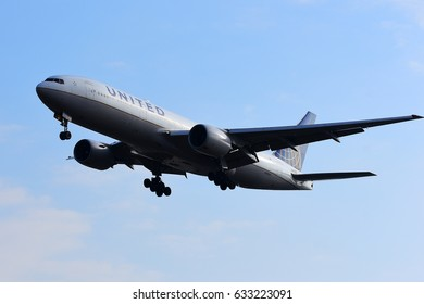 FRANKFURT,GERMANY-APR 29: UNITED AIRLINES Boeing 777-222(ER) lands at airport on April 29,2017 in Frankfurt,Germany.United, is an American airline headquartered in Chicago, Illinois.
