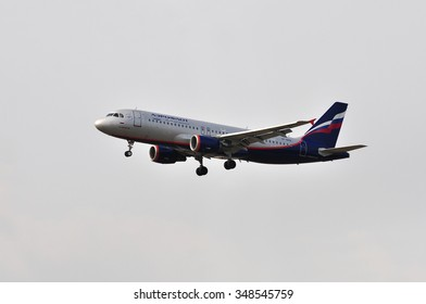 FRANKFURT,GERMANY-APR10:airplane of Aeroflot above the Frankfurt airport on April 10,2015 in Frankfurt,Germany.Aeroflot is the largest Russian airline is headquartered in Moscow.