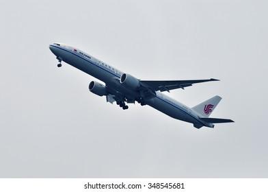 FRANKFURT,GERMANY-APR10:airplane of AIR CHINA above the Frankfurt airport on April 10,2015 in Frankfurt,Germany. Air China is the national airline of  of China based in Beijing.