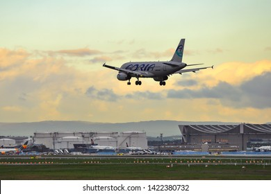 Frankfurt,Germany-April 07,2016: Adria Airways Airbus A319 over airport.Adria Airways is the largest airline in Slovenia.