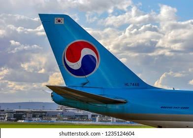 FRANKFURT,GERMANY-APRIL 07,2016: Korean Air Cargo Boeing 747-400F over airport.Korean Air, is the largest airline and flag carrier of South Korea.
