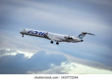 Frankfurt,Germany-April 07,2016:Adria Airways Bombardier CRJ-900ER over airport.Adria Airways is the largest airline in Slovenia.