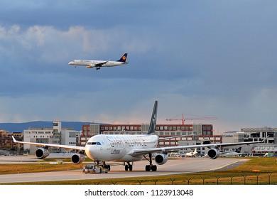 FRANKFURT,GERMANY-APRIL 07,2016:Lufthansa Airbus A340-300.