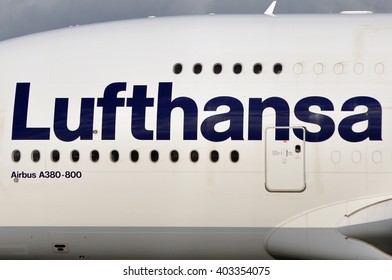 FRANKFURT,GERMANY-APRIL 07:Airbus A380-800  in the Frankfurt airport on April 07,2016 in Frankfurt,Germany..Lufthansa is a German airline and also the largest airline in Europe.
