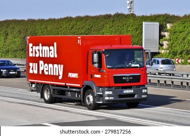 FRANKFURT,GERMANY-APRIL 10: truck of Penny on the highway on April,2015 in Frankfurt,Germany