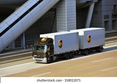 FRANKFURT,GERMANY-APRIL 10: truck of UPS on the highway on April 10,2015 in Frankfurt,Germany.UPSis the world's largest package delivery company and a provider of supply chain management solutions.