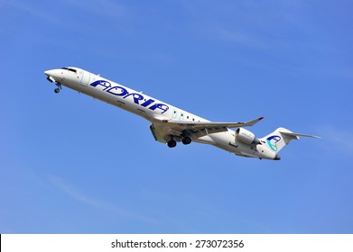 FRANKFURT,GERMANY-APRIL 10:airplane of Adria Airways on April 10,2015 in Frankfurt,Germany.Adria Airways is the Slovenian national airline.