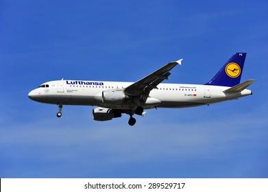 FRANKFURT,GERMANY-APRIL 10:airplane of Lufthansa above the Frankfurt airport on April 10,2015 in Frankfurt,Germany