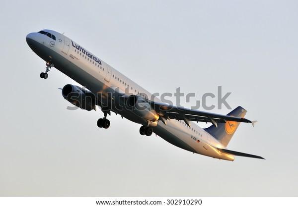 FRANKFURT,GERMANY-APRIL 10:airplane of Lufthansa on April 10,2015 in Frankfurt,Germany.