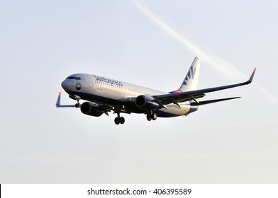 FRANKFURT,GERMANY-APRIL 10:airplane of SunExpress Airlines above the Frankfurt airport on April 10,2015 in Frankfurt,Germany.SunExpress is a Turkish airline based in Antalya, Turkey.