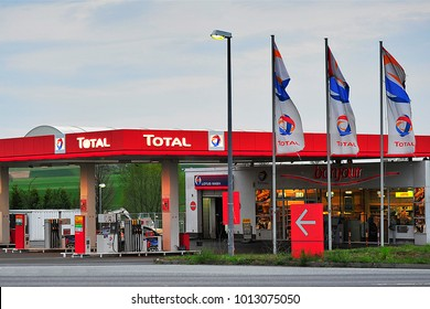 "FRANKFURT,GERMANY-APRIL 16,2015:TOTAL gas station.Total S.A. is a French multinational integrated oil and gas company and one of the seven ""Supermajor"" oil companies in the"