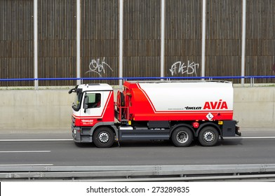 FRANKFURT,GERMANY-APRIL 16:oil truck AVIA of on April 16,2015 in Frankfurt,Germany.Avia-Czech aircraft and automotive company notable for producing biplane fighter aircraft and most recently trucks.