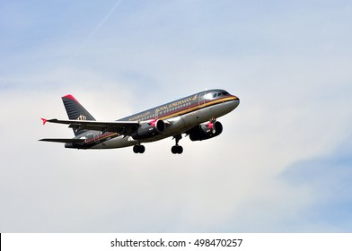 FRANKFURT,GERMANY-APRIL 21: Royal Jordanian Airlines Airbus A319 on April 21,2016 in Frankfurt,Germany.Royal Jordanian Airlines - flag carrier airline of Jordan in Amman.