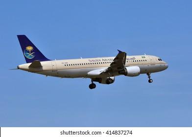 FRANKFURT,GERMANY-APRIL 21:Airbus A320 of Saudi Arabian Airlines on April 21,2016 in Frankfurt,Germany.Saudi Arabian Airlines operating as Saudia is the flag carrier airline of Saudi Arabia.