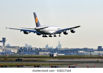 FRANKFURT,GERMANY-APRIL 21:Airbus A380 of Lufthansa above Frankfurt airport on April 21,2016 in Frankfurt,Germany.Lufthansa-German airline and also the largest airline in Europe.