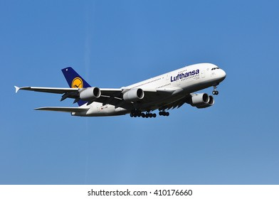 FRANKFURT,GERMANY-APRIL 21:Airbus A380-800 of Lufthansa above the Frankfurt airport on April 21,2016 in Frankfurt,Germany.Lufthansa is a German airline and also the largest airline in Europe.