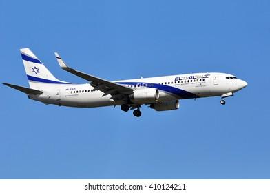 FRANKFURT,GERMANY-APRIL 21:Boeing 737 of Israel Airlines above the Frankfurt airport on April 21,2016 in Frankfurt,Germany.El Al Israel Airlines Ltd, trading as El Al, is the flag carrier of Israel.