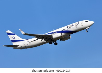 FRANKFURT,GERMANY-APRIL 21:Boeing 737 of Israel Airlines above the Frankfurt airport on April 21,2016 in Frankfurt,Germany.El Al Israel Airlines Ltd, trading as El Al, is the flag carrier of Israel.