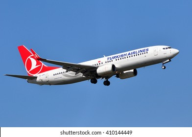 FRANKFURT,GERMANY-APRIL 21:Boeing 737 of Turkish Airlines on April 21,2016 in Frankfurt,Germany.Turkish Airlines is the national flag carrier airline of Turkey.