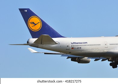 FRANKFURT,GERMANY-APRIL 21:Boeing 747 of Lufthansa above Frankfurt airport on April 21,2016 in Frankfurt,Germany.Lufthansa-German airline and also the largest airline in Europe.