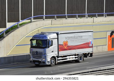FRANKFURT,GERMANY-APRIL 24: truck on the higway on April 24,2015 in Frankfurt,Germany.