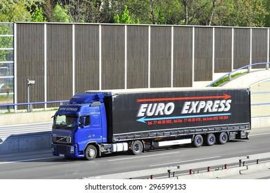 FRANKFURT,GERMANY-APRIL 24:EURO EXPRESS  truck on the higway on April 24,2015 in Frankfurt,Germany.