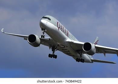 FRANKFURT,GERMANY-APRIL 29: QATAR AIRWAYS Airbus A350 lands at Frankfurt airport on April 29,2017 in Frankfurt,Germany.