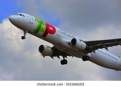 FRANKFURT,GERMANY-APRIL 29,2017: TAP Air Portugal Airbus A321 lands at Frankfurt airport.